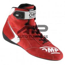 Ботинки спортивные замшевые для авто спорта - OMP style - красные