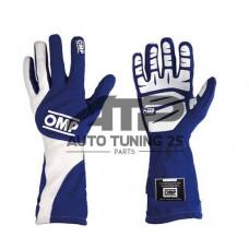 Перчатки спортивные для авто спорта - OMP style - синие